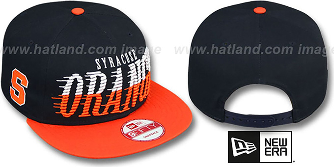 Syracuse 'SAILTIP SNAPBACK' Navy-Orange Hat by New Era : pictured without stickers that these products are shipped with