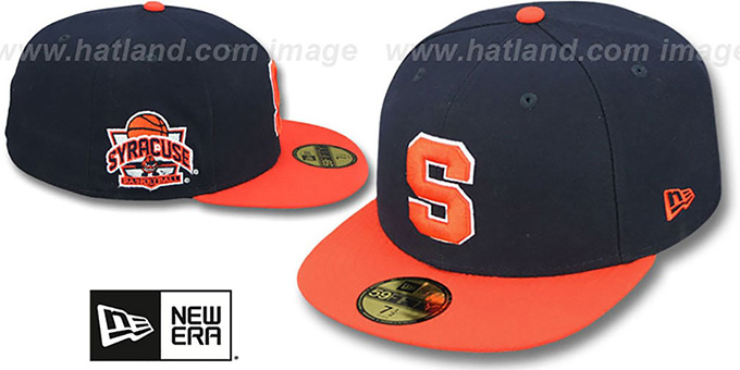 Syracuse 'SIDE BASKETBALL-PATCH' Navy-Orange Fitted Hat by New Era : pictured without stickers that these products are shipped with
