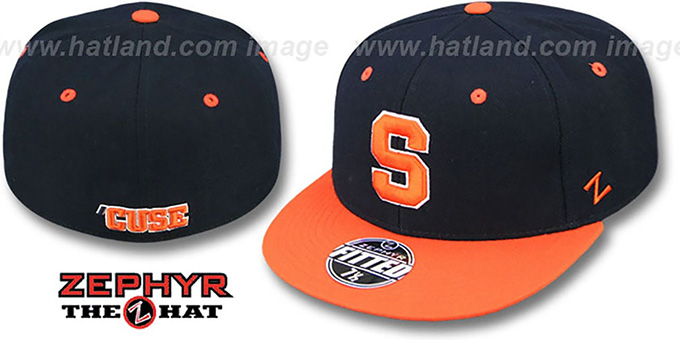 Syracuse 'SLIDER' Navy-Orange Fitted Hat by Zephyr : pictured without stickers that these products are shipped with