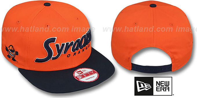 Syracuse 'SNAP-IT-BACK SNAPBACK' Orange-Navy Hat by New Era : pictured without stickers that these products are shipped with