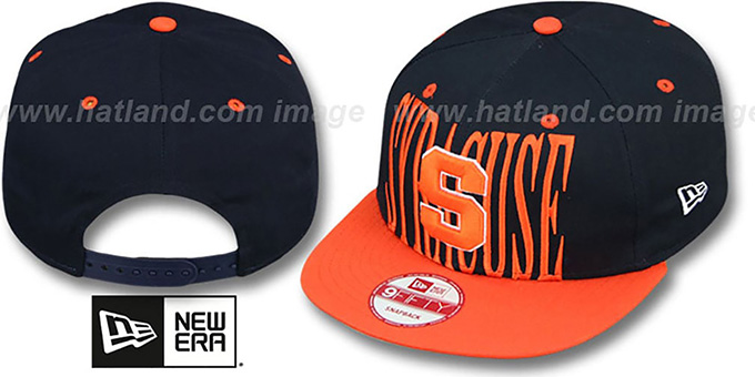 Syracuse 'STEP-ABOVE SNAPBACK' Navy-Orange Hat by New Era : pictured without stickers that these products are shipped with