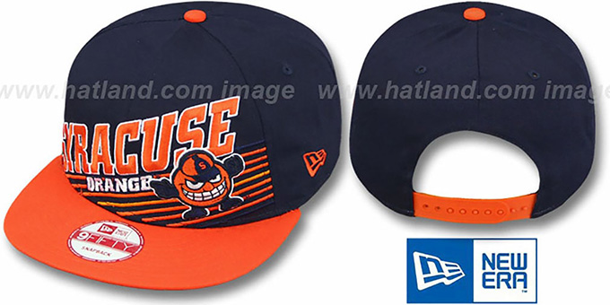 Syracuse 'STILL ANGLIN SNAPBACK' Navy-Orange Hat by New Era : pictured without stickers that these products are shipped with