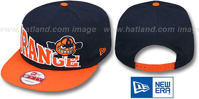 Syracuse 'STOKED SNAPBACK' Navy-Orange Hat by New Era : pictured without stickers that these products are shipped with