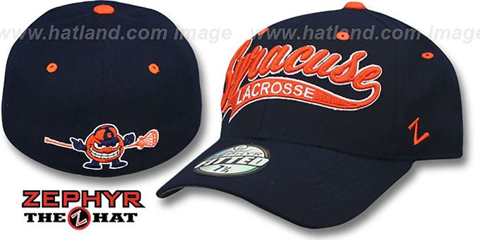 Syracuse 'SWOOP LACROSSE' Navy Fitted Hat by Zephyr : pictured without stickers that these products are shipped with