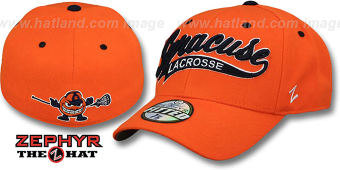 Syracuse 'SWOOP LACROSSE' Orange Fitted Hat by Zephyr : pictured without stickers that these products are shipped with