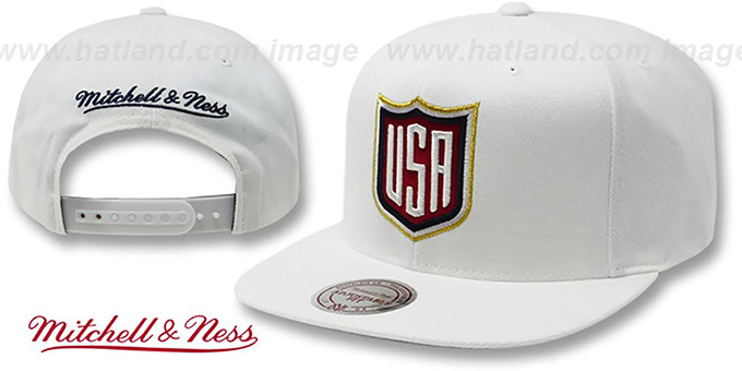 Team USA 'SHIELD SNAPBACK' White Hat by Mitchell and Ness : pictured without stickers that these products are shipped with