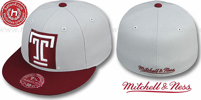 Temple '2T XL-LOGO' Grey-Burgundy Fitted Hat by Mitchell & Ness : pictured without stickers that these products are shipped with