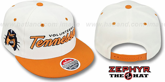 Tennessee '2T HEADLINER SNAPBACK' White-Orange Hat by Zephyr : pictured without stickers that these products are shipped with