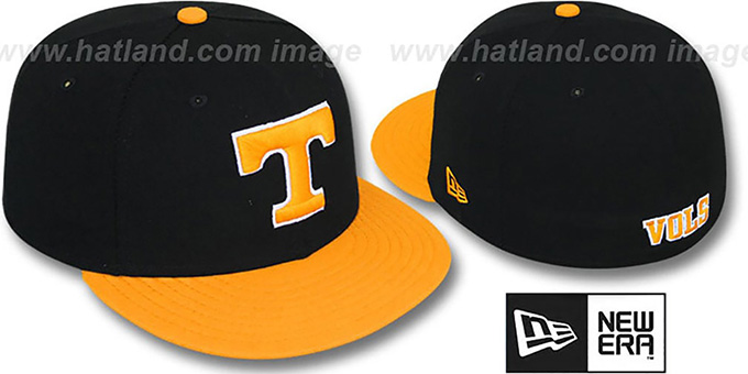 Tennessee '2T NCAA-BASIC' Black-Orange Fitted Hat by New Era : pictured without stickers that these products are shipped with