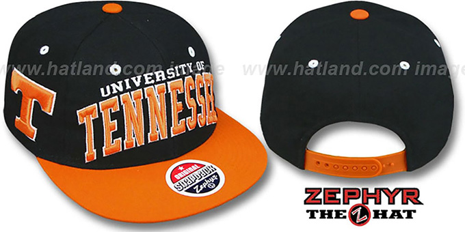 Tennessee '2T SUPER-ARCH SNAPBACK' Black-Orange Hat by Zephyr : pictured without stickers that these products are shipped with