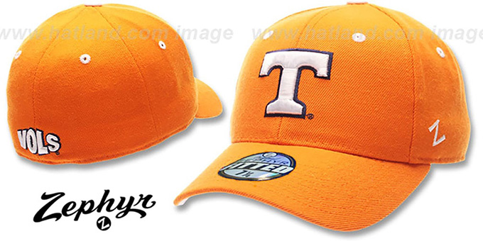 Tennessee 'DH' Fitted Hat by ZEPHYR - orange : pictured without stickers that these products are shipped with