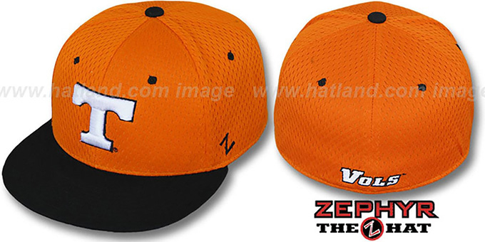 Tennessee 'DOUBLE PLAY MESH' Orange-Black Fitted Hat by Zephyr : pictured without stickers that these products are shipped with