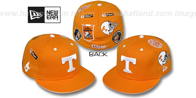 Tennessee 'NCAA ALL-OVER' Orange Fitted Hat by New Era : pictured without stickers that these products are shipped with