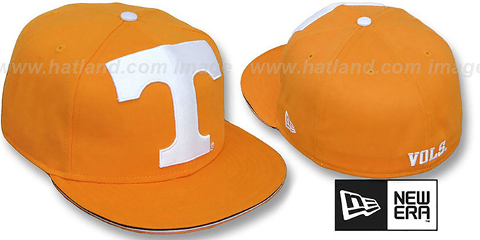 Tennessee 'NCAA BIG-ONE' Orange Fitted Hat by New Era : pictured without stickers that these products are shipped with