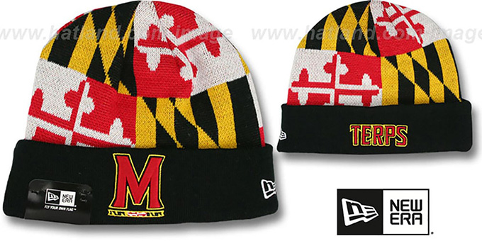 Terps 'M-TERPS MARYLAND-FLAG' Knit Beanie Hat by New Era : pictured without stickers that these products are shipped with