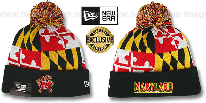 Terps 'TURTLE MARYLAND-FLAG POM-POM' Knit Beanie Hat by New Era : pictured without stickers that these products are shipped with
