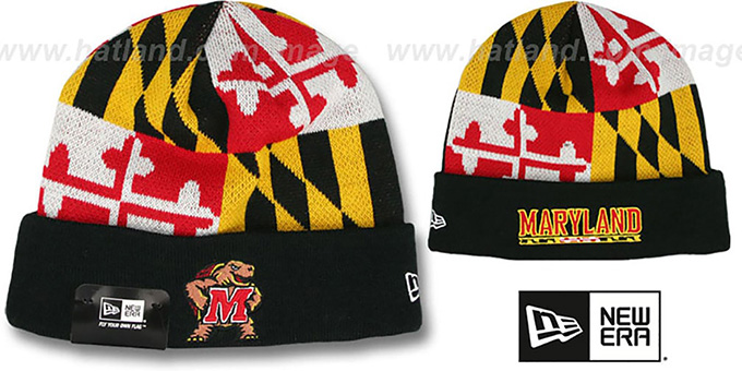 Terps 'TURTLE MARYLAND-FLAG' Knit Beanie Hat by New Era : pictured without stickers that these products are shipped with