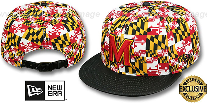 Terrapins 'MARYLAND-FLAG CROWN PEBBLED STRAPBACK' Hat by New Era : pictured without stickers that these products are shipped with