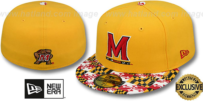 Terrapins 'MARYLAND-FLAG VIZA' Gold Fitted Hat by New Era : pictured without stickers that these products are shipped with