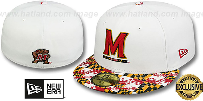 Terrapins 'MARYLAND-FLAG VIZA' White Fitted Hat by New Era : pictured without stickers that these products are shipped with