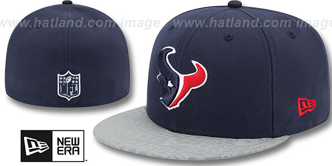 Texans '2014 NFL DRAFT' Navy Fitted Hat by New Era : pictured without stickers that these products are shipped with