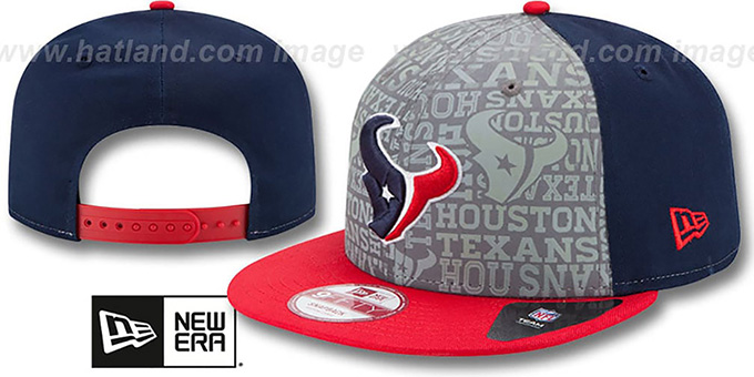 Texans '2014 NFL DRAFT SNAPBACK' Navy-Red Hat by New Era : pictured without stickers that these products are shipped with