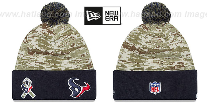 Texans '2015 SALUTE-TO-SERVICE' Knit Beanie Hat by New Era : pictured without stickers that these products are shipped with
