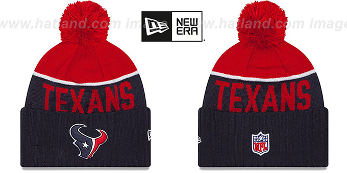 Texans '2015 STADIUM' Navy-Red Knit Beanie Hat by New Era : pictured without stickers that these products are shipped with