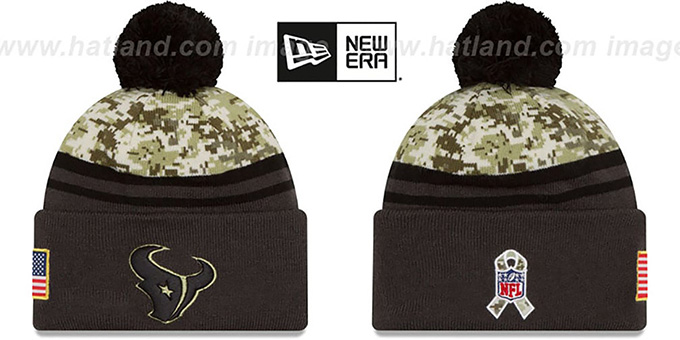 Texans '2016 SALUTE-TO-SERVICE' Knit Beanie Hat by New Era : pictured without stickers that these products are shipped with