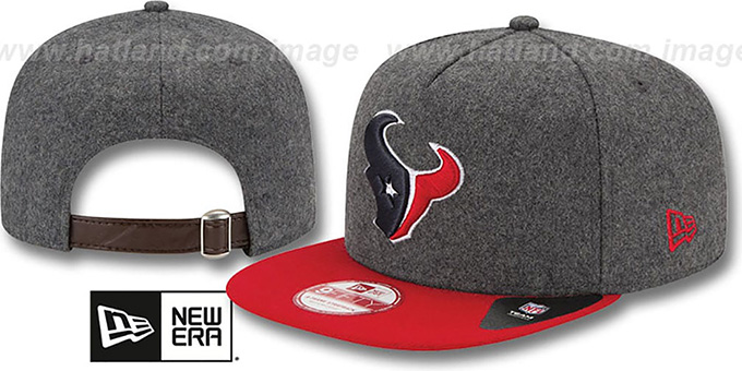 Texans '2T MELTON A-FRAME STRAPBACK' Hat by New Era : pictured without stickers that these products are shipped with
