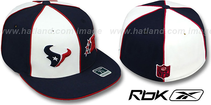 Texans 'AFC DOUBLE LOGO' White-Navy Fitted Hat by Reebok : pictured without stickers that these products are shipped with
