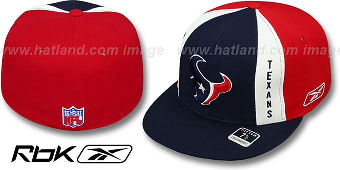 Texans 'AJD PINWHEEL' Navy-Red Fitted Hat by Reebok : pictured without stickers that these products are shipped with