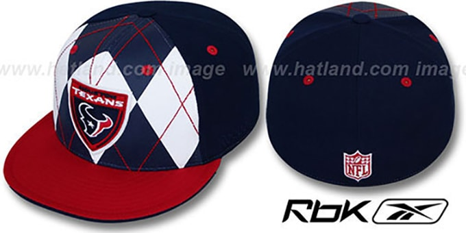 Texans 'ARGYLE-SHIELD' Navy-Red Fitted Hat by Reebok : pictured without stickers that these products are shipped with