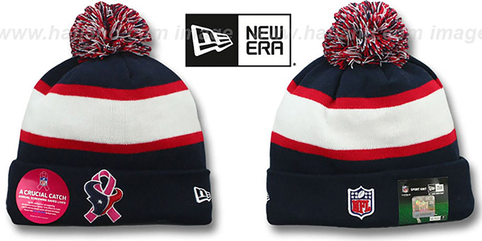 Texans 'BCA CRUCIAL CATCH' Knit Beanie Hat by New Era : pictured without stickers that these products are shipped with