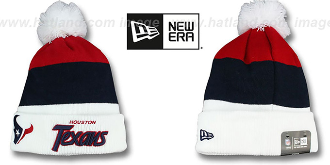 Texans 'CUFF-SCRIPTER' White-Navy-Red Knit Beanie Hat by New Era : pictured without stickers that these products are shipped with