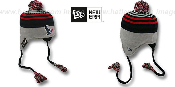 Texans 'GREY STRIPETOP' Knit Beanie Hat by New Era : pictured without stickers that these products are shipped with