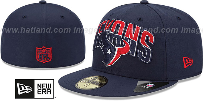 Texans 'NFL 2013 DRAFT' Navy 59FIFTY Fitted Hat by New Era : pictured without stickers that these products are shipped with