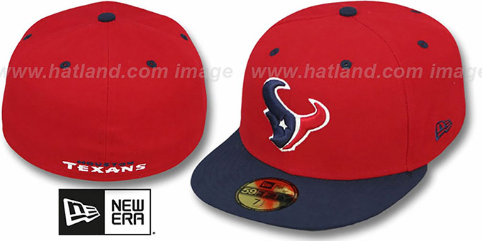 Texans 'NFL 2T-TEAM-BASIC' Red-Navy Fitted Hat by New Era : pictured without stickers that these products are shipped with