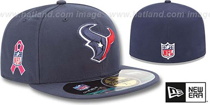 Texans 'NFL BCA' Navy Fitted Hat by New Era : pictured without stickers that these products are shipped with
