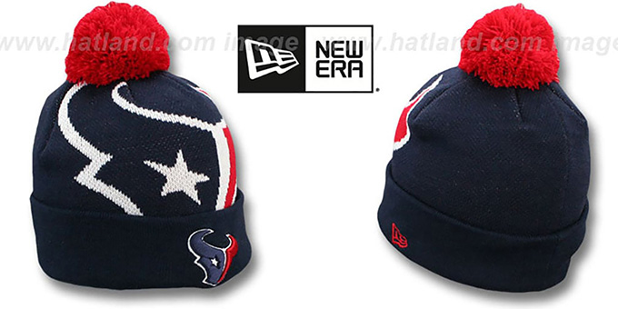 Texans 'NFL-BIGGIE' Navy Knit Beanie Hat by New Era : pictured without stickers that these products are shipped with