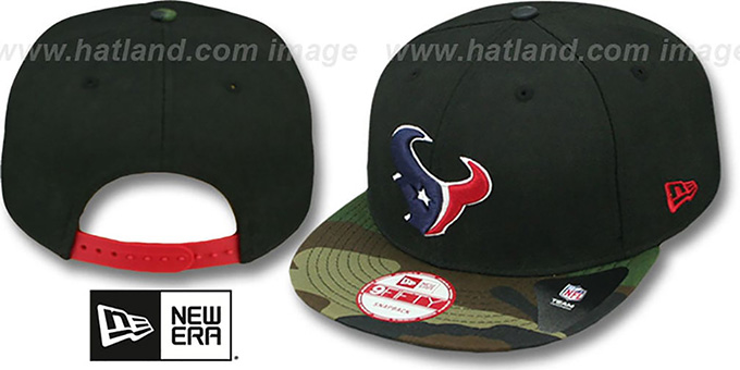 Texans 'NFL CAMO-BRIM SNAPBACK' Adjustable Hat by New Era : pictured without stickers that these products are shipped with