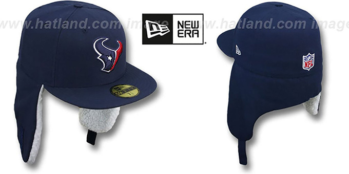 Texans 'NFL-DOGEAR' Navy Fitted Hat by New Era : pictured without stickers that these products are shipped with