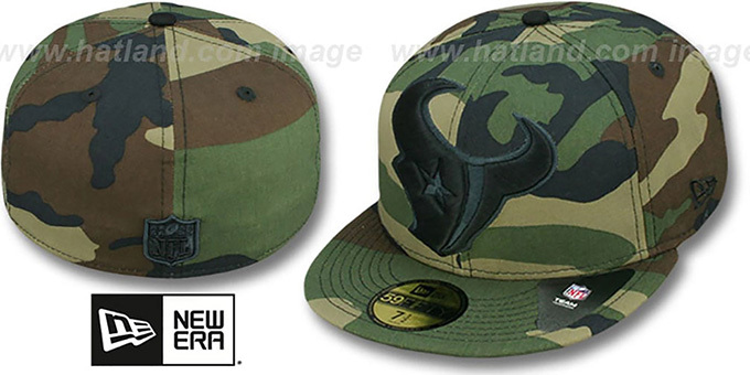 Texans NFL 'MIGHTY-XL' Army Camo Fitted Hat by New Era : pictured without stickers that these products are shipped with