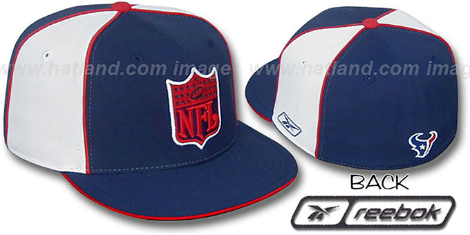 Texans 'NFL SHIELD PINWHEEL' Navy White Fitted Hat by Reebok : pictured without stickers that these products are shipped with