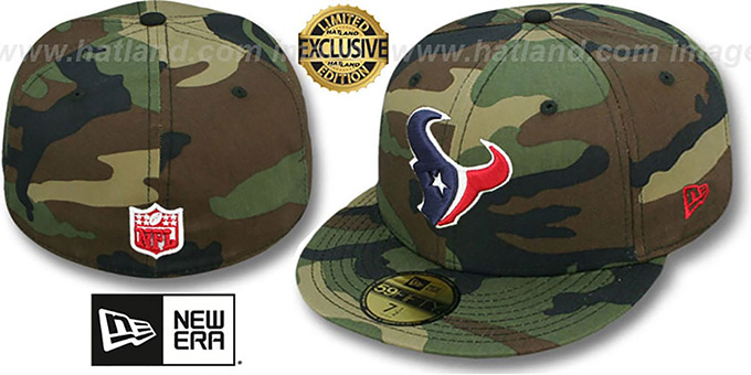 Texans 'NFL TEAM-BASIC' Army Camo Fitted Hat by New Era : pictured without stickers that these products are shipped with