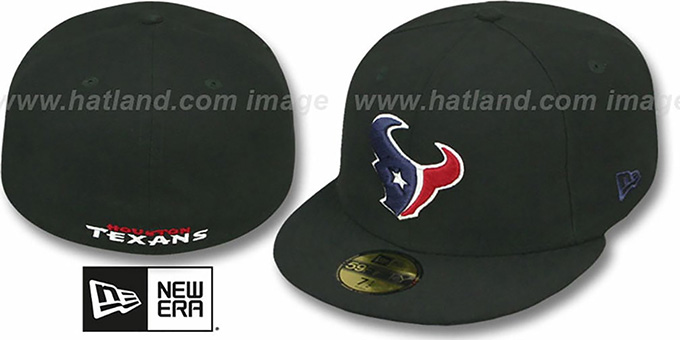 Texans 'NFL TEAM-BASIC' Black Fitted Hat by New Era : pictured without stickers that these products are shipped with