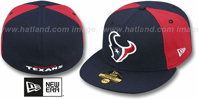 Texans 'PINWHEEL-2' Navy-Burgundy  Fitted Hat : pictured without stickers that these products are shipped with