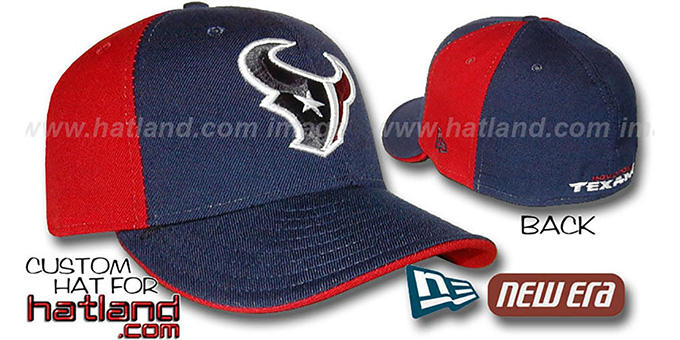 Texans 'PINWHEEL' Navy-Red Fitted Hat by New Era : pictured without stickers that these products are shipped with