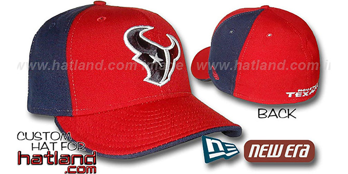 Texans 'PINWHEEL' Red-Navy Fitted Hat by New Era : pictured without stickers that these products are shipped with