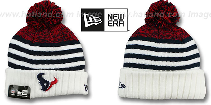 Texans 'SNOWFALL STRIPE' Knit Beanie Hat by New Era : pictured without stickers that these products are shipped with
